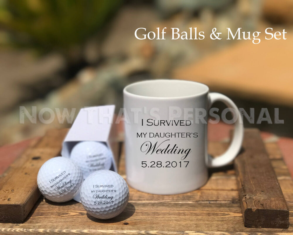 Father Of The Bride, Gift Set, Golf Balls & Mug, I Survived My Daughter's Wedding, Gift For Dad, Bride's Father, Bride