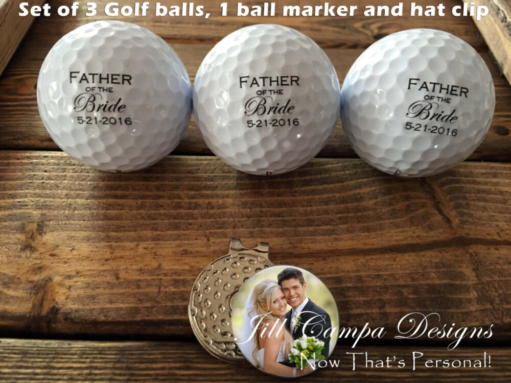 Father Of The Bride, Custom Golf Balls, Ball Marker, Hat Clip - Gift For Dad Wedding Bride's Father, Father Bride