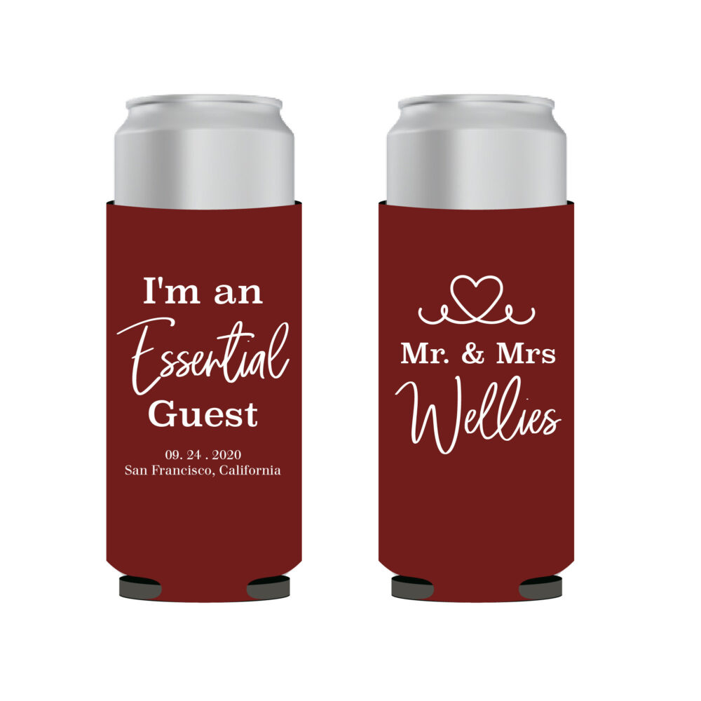 Essential Guest Thin Can Cooler, Personalized Wedding Slim Customized Seltzer Cooler Favor, White Claw Favors   5