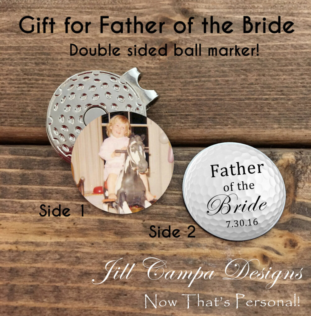 Father Of The Bride Gift- Photo Golf Ball Marker - Father Bride Gift From