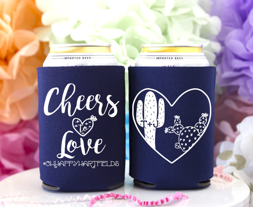 Cactus Wedding Personalized Can Cooler, Succulent Favors, Custom Coolers, Stubby Holder, Huggers