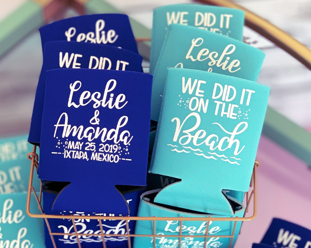 We Did It On The Beach Favors For Guests Wedding Personalized Can Coolers Custom Party Gifts Cooler