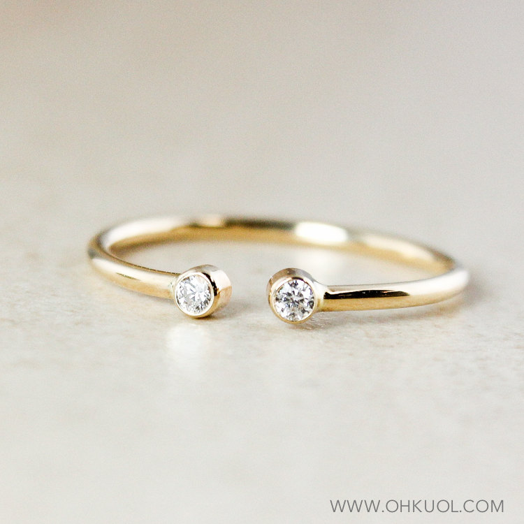 Yellow Gold Dainty Diamond Birthstone Mother Daughter Ring, 10K 2 Stone April Stacking Ring