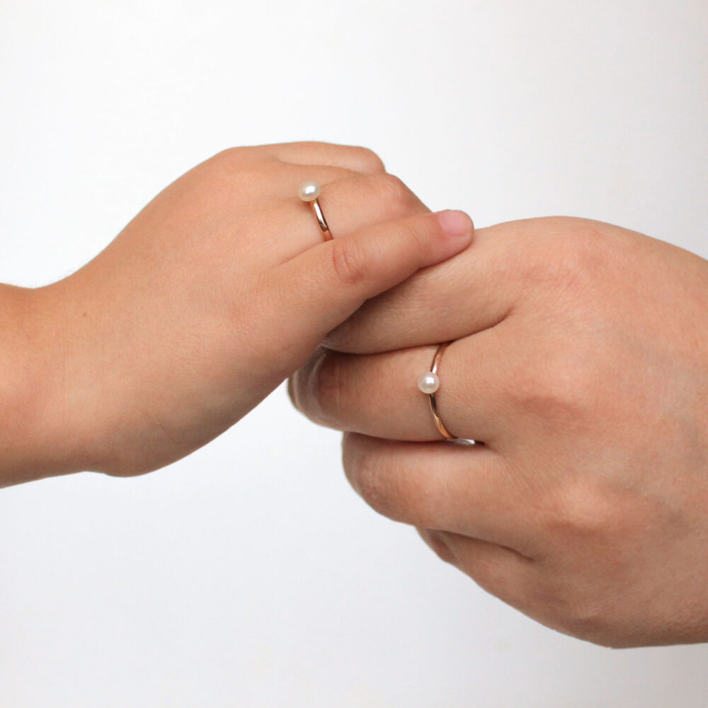 Mother & Daughter Rings Set White Pearl Ring Baby Mom & Statement Gold Dainty Birthstone Shower Gift