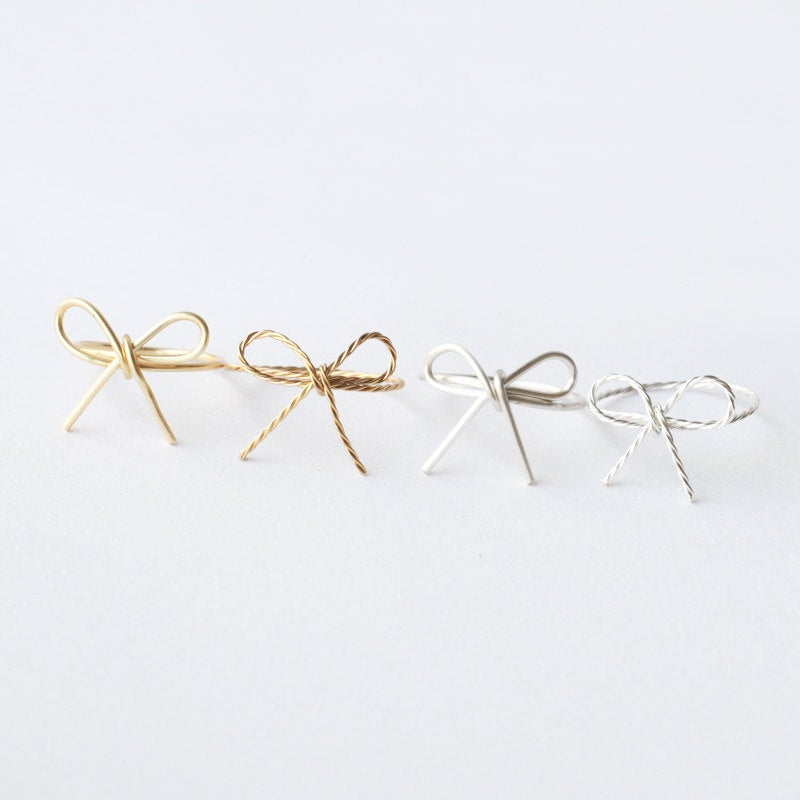 Bridesmaids Ring, Wire Bow 16K Gold Ring, Dainty Tiny Bow Ring, Skinny Ring, Bridesmaids Jewelry, Christmas Gift Daughter Ring