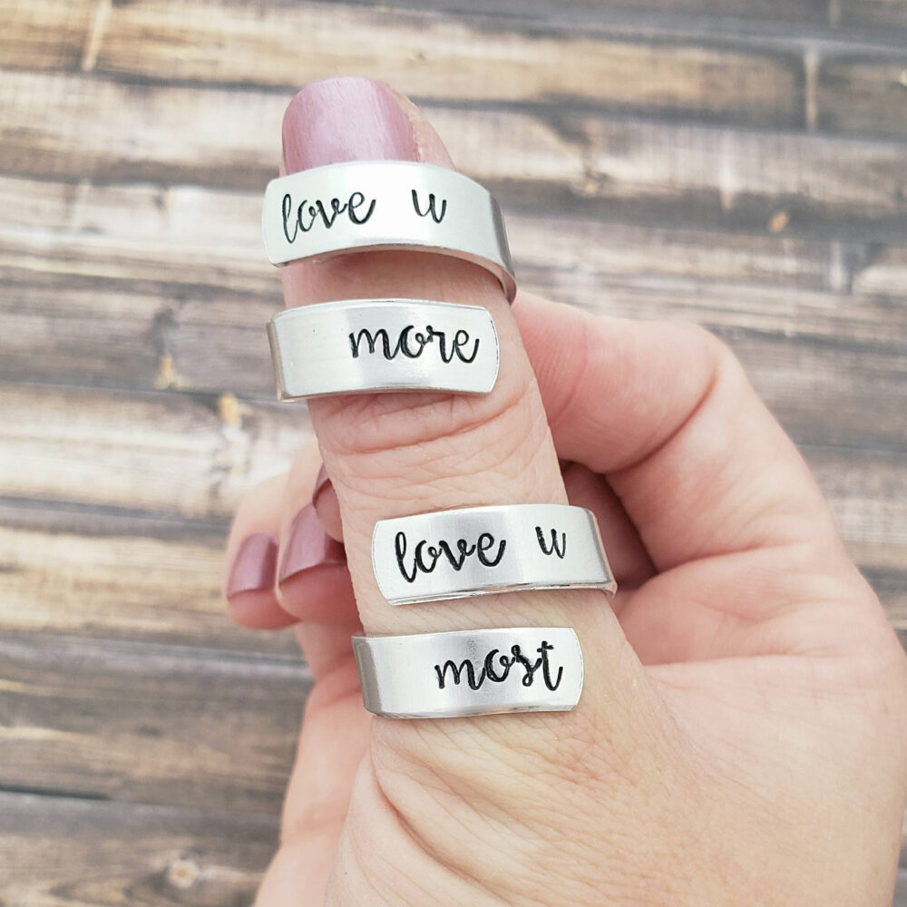 Love You More Most Ring Set, Mother Daughter Rings, Matching Mom & Jewelry, U Gift For