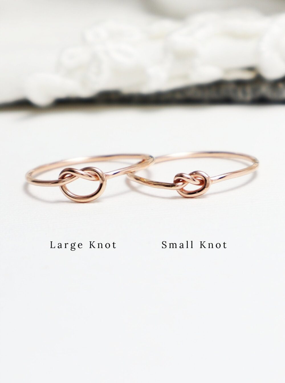 Tiny Super Thin Rose Gold Knot Ring, Dainty Promise Love Rings For Women, Sister Mother Daughter Rings, Gift Bridesmaids, Mom | Unity