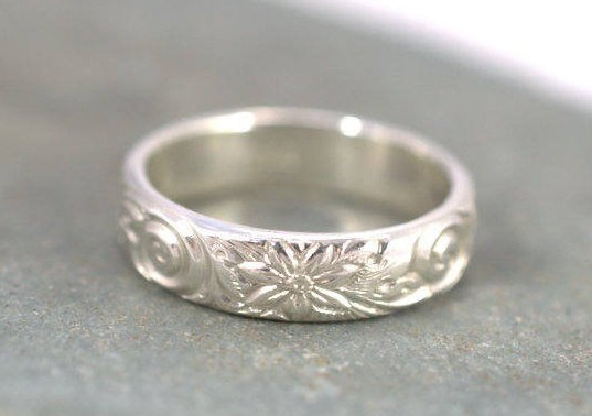 Hawaiian Ring, Promise Anniversary Couple Pattern Jewelry, Her Gift, Mother Daughter Rings, Solid 925 Silver Ring