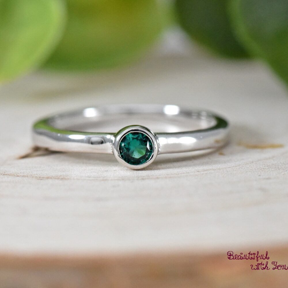 Girls Silver Ring, May Birthstone Childrens Daughter Ring For Girls, Daughter, Emerald Cubic Zirconia