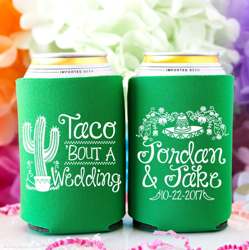 Taco Bout A Wedding Personalized Can Cooler, Fiesta Favors For Guests, Mexican Wedding, Funny Favors, Rehearsal Dinner