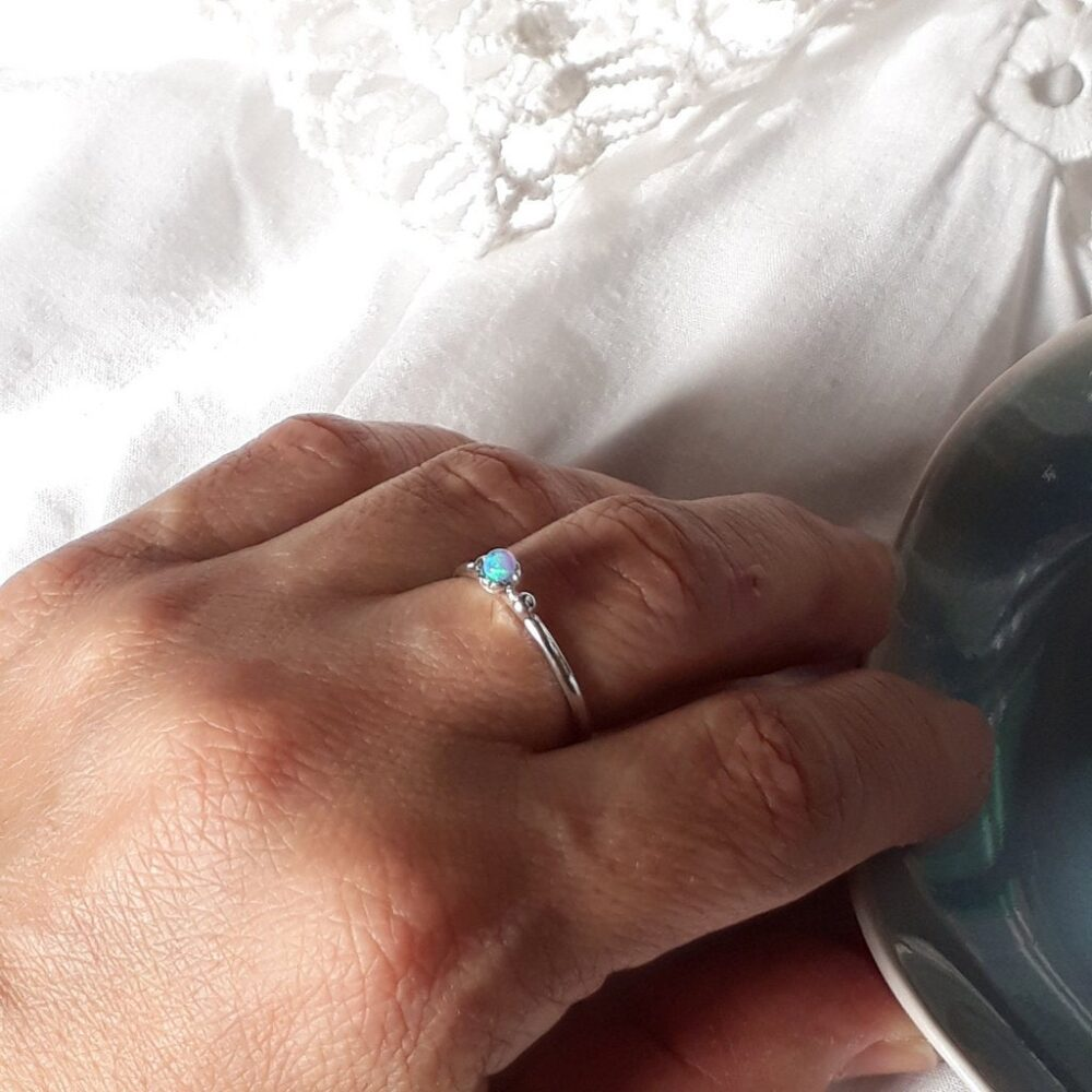 Opal Silver Ring, Sterling Simple Best Friend Gift, Mother Daughter Rings