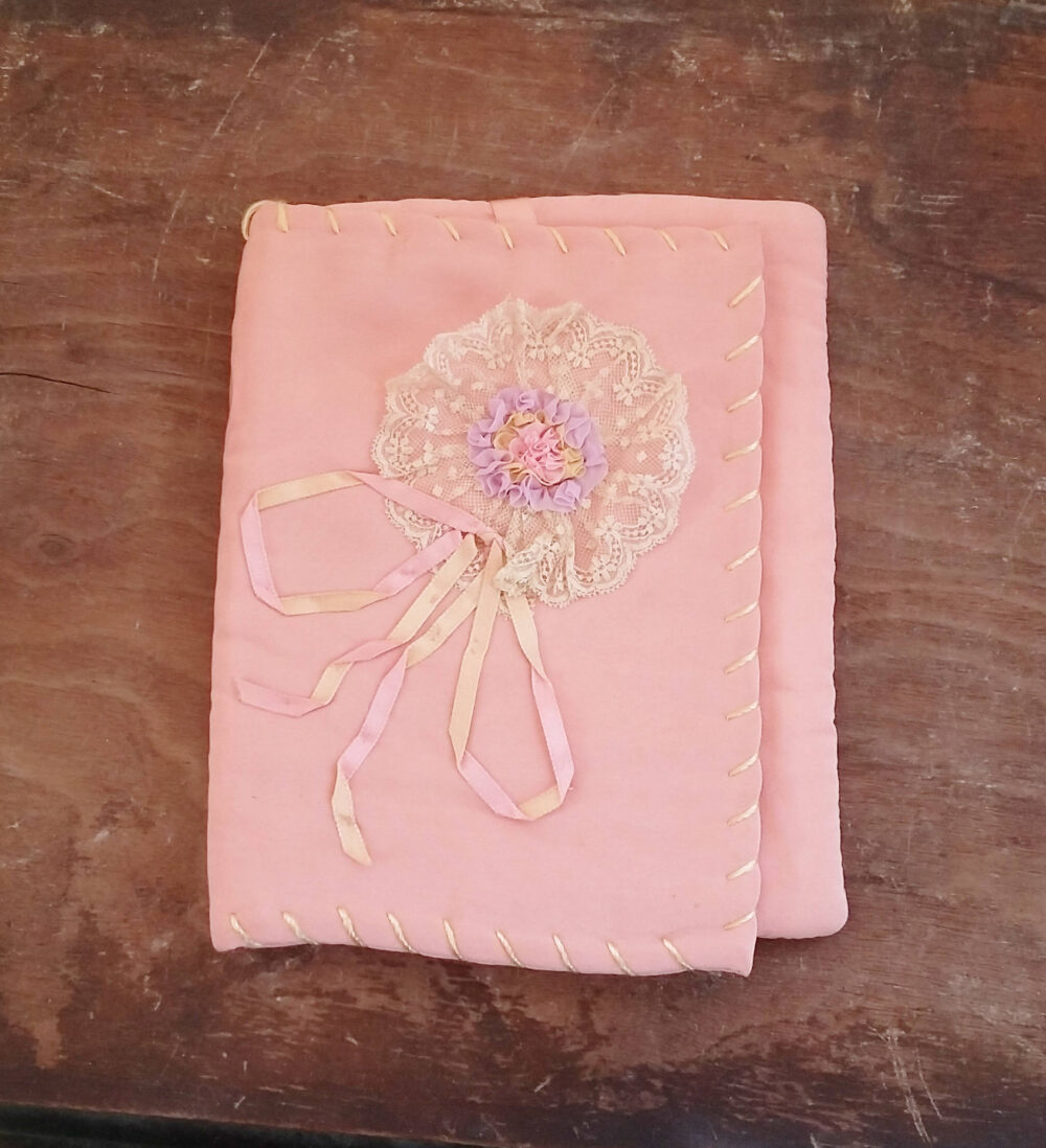 Vintage Book Or Bible Cover Peach Salmon Silky Fabric W Lace & Ribbon Rosette Bow 30's Hand Crafted Shabby Chic Decor Storage