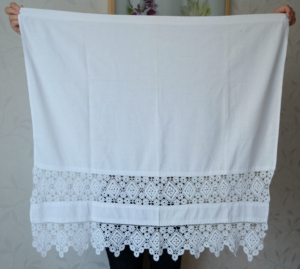 Cotton Crocheted Napkin, Vintage White Commode Doily, Antique Window Decor Curtain, Lace Trim Textile, Cottage Rustic Folk Scalloped Edging
