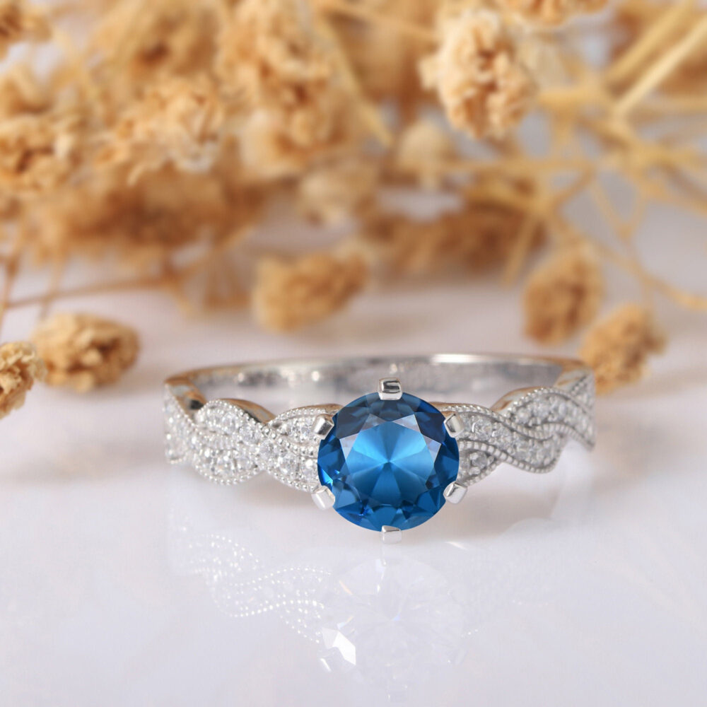 London Blue Topaz Ring, Round Cut 1Ct 6 Prongs Rope Style Cross Band 14K White Gold Engagement Gemstone Wedding Ring