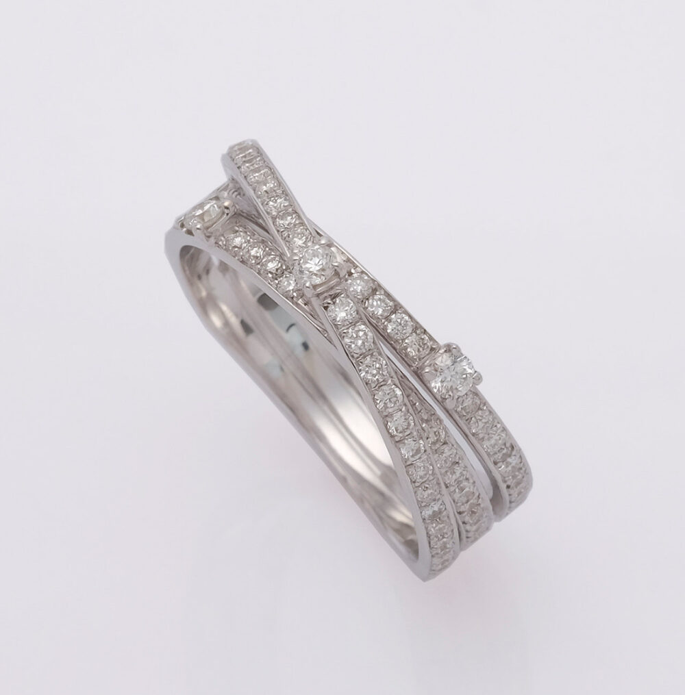 Diamond Band, 14K White Gold, Eternity Band, Crossover Ring, Multi Row Anniversary Pave Wedding Cross Over