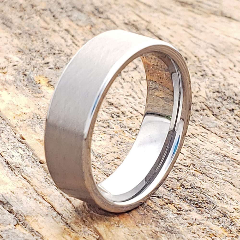 Matte Tungsten Ring, Unique Band, Cross Brushed Mens Engagement Men Wedding Ring