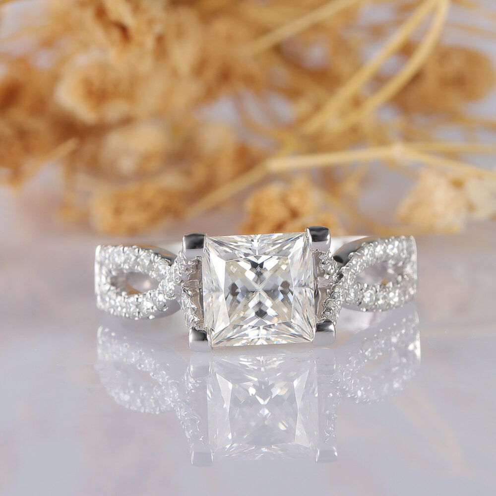 Moissanite Ring, Cross Band Princess Cut 6.5mm 14K White Gold Accents Engagement Wedding Promise Stackable Ring