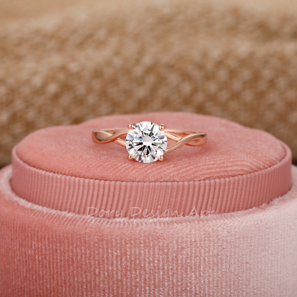 Minimalist Classic Style Wedding Ring, Solitaire 7mm Round Cut Moissanite Engagement Cross Band Promise Christmas Gift
