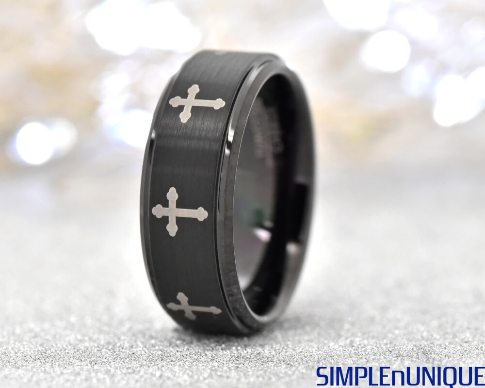 Cross Engraved Tungsten Ring, Black Promise Men's Band, 8mm Brushed Unique Wedding Engagement Ring Band