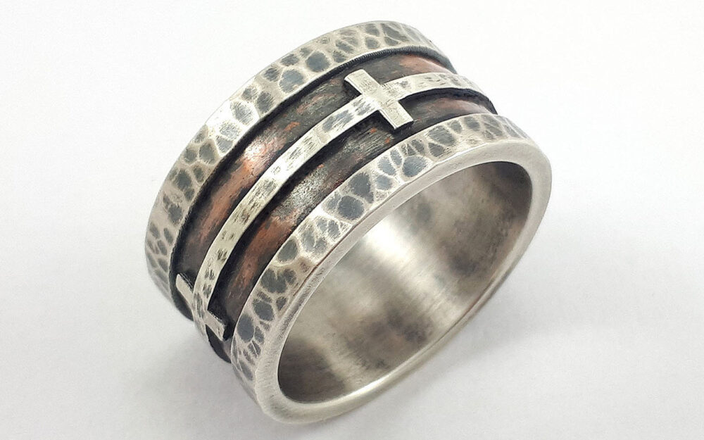 Handmade Christian Wedding Band, Men's Cross Band, Rustic Silver, Rustic Men's Band, Cross Ring Men, Rough Ring, Gift For Him