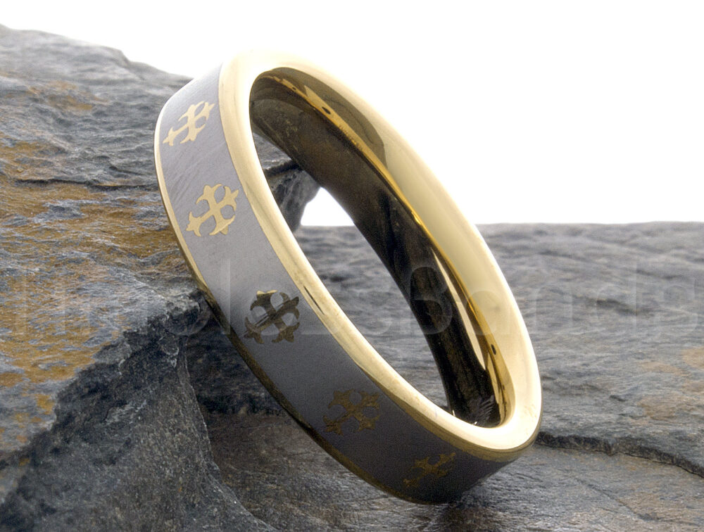 Tungsten Ring 6mm Gold Silver Brushed Cross Engraving Wedding Mens Womens Band Anniversary