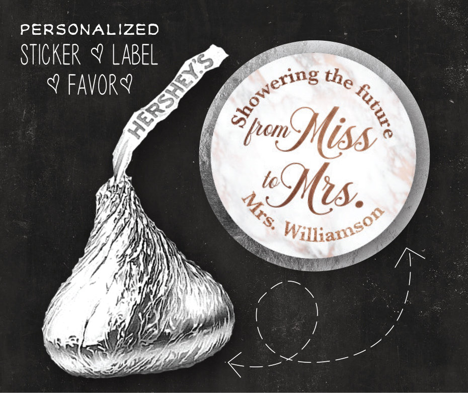 120 Custom Labels | Marble Hershey Kiss® Sticker Rose Gold Stickers Chocolate Candy Label Wedding Kiss Favors Bridal Shower Favor