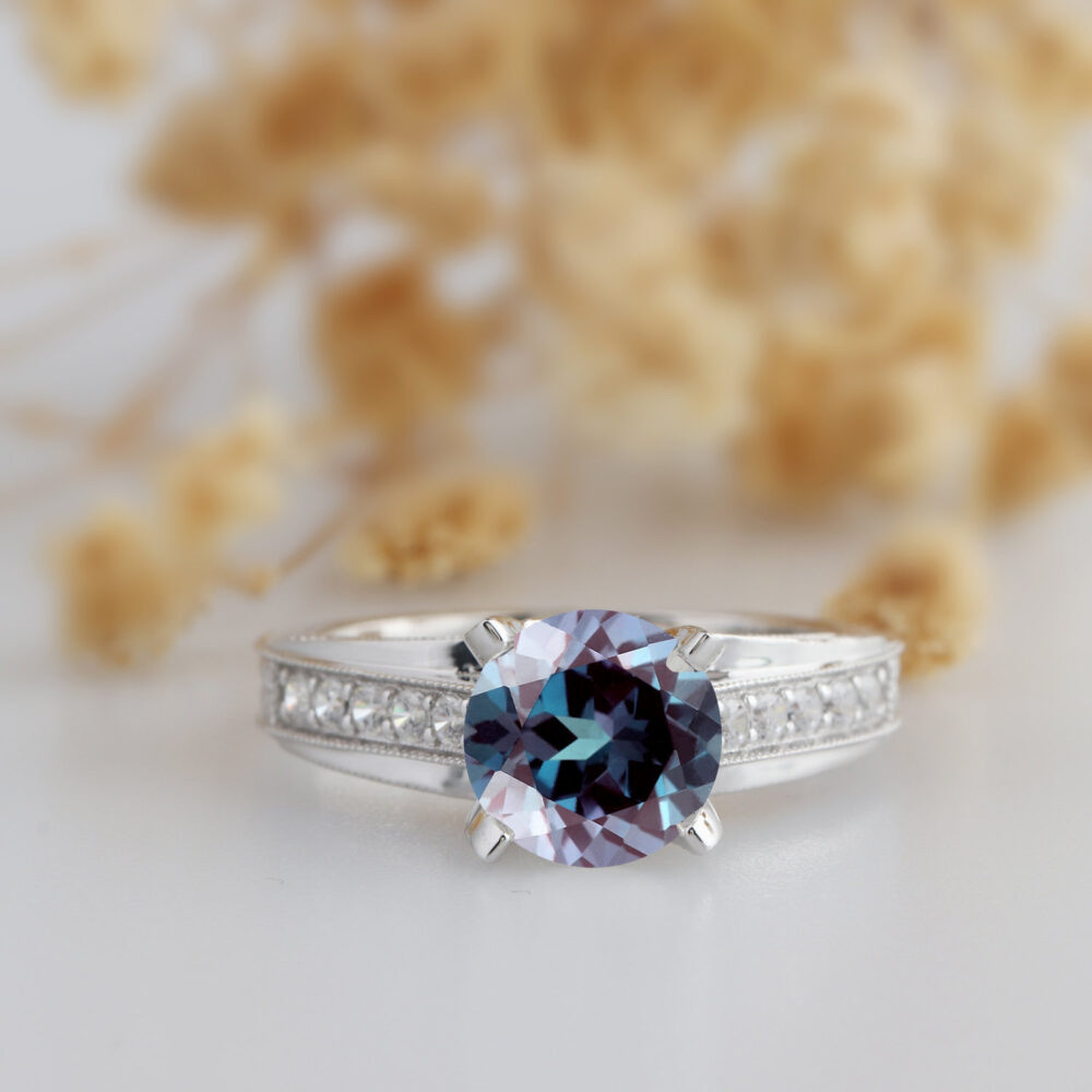 Vintage Alexandrite Ring, Cross Band 2.5Ct 14K Solid White Gold Wedding Art Deco Antique Engagement Ring