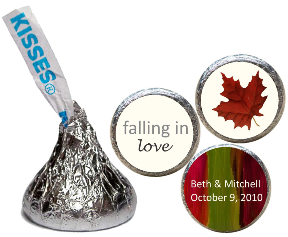 Fall in Love, Wedding, Stickers For Kisses, Party Favors, Wedding Candy Kiss | Set Of 108 | Rfil