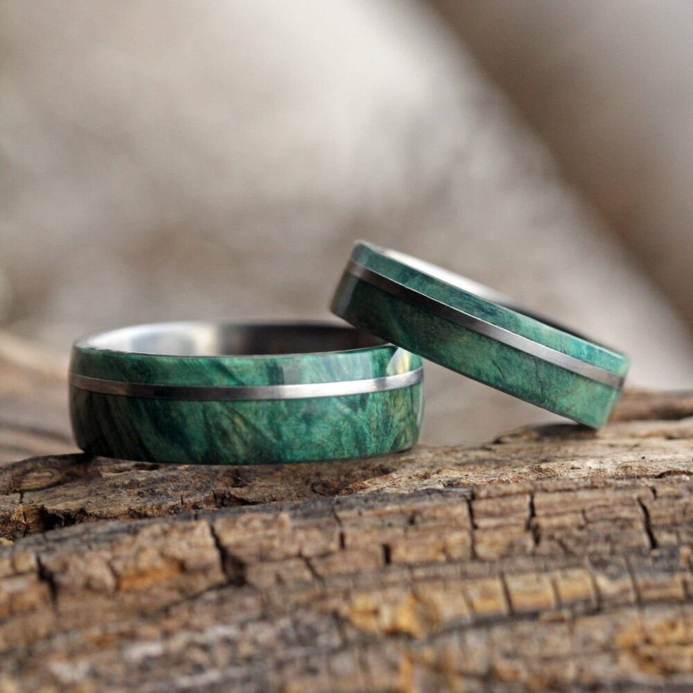 Matching Wood Wedding Band Set With Matte Titanium Finish, Choose From 100+ Types