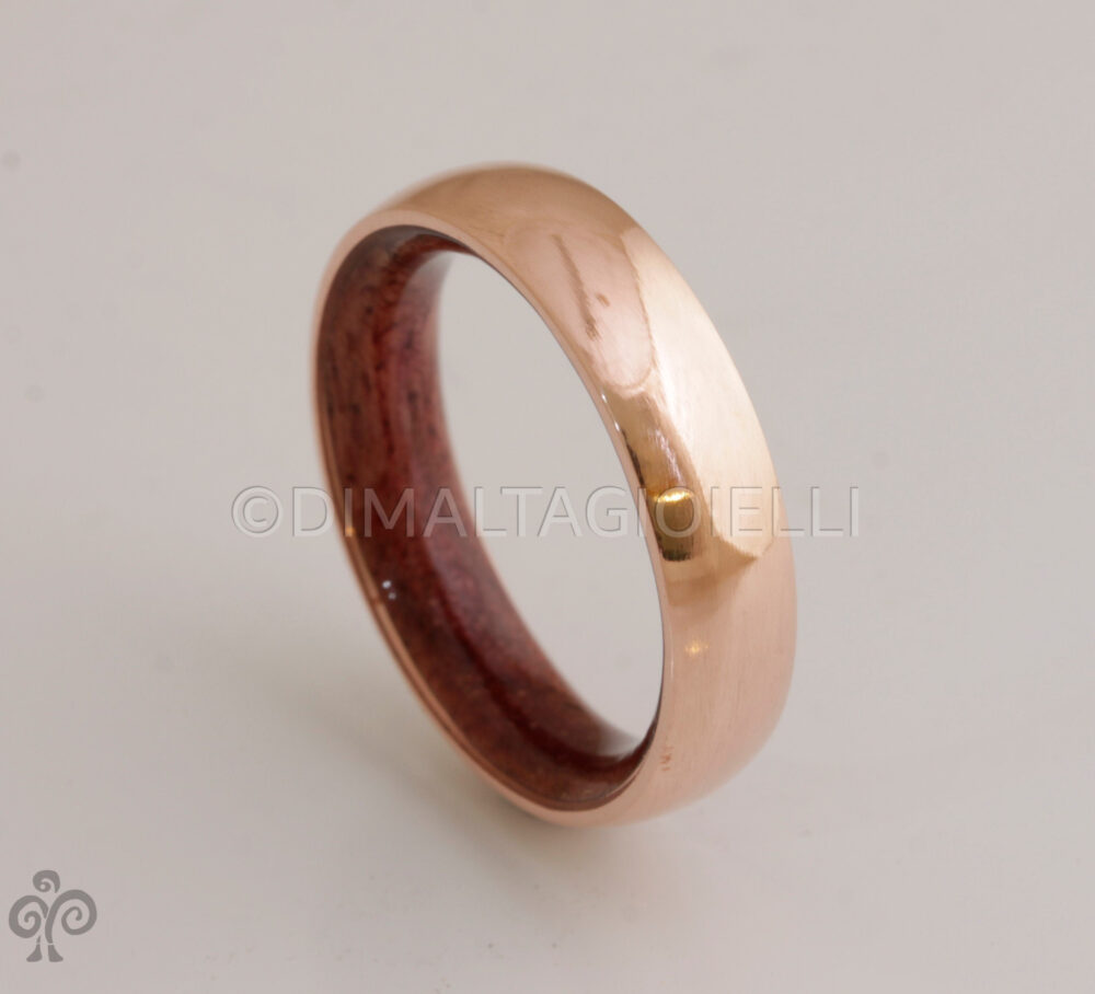 Copper Wood Wedding Band Wood Ring Man Mens Wedding Band Purple Heart Woman Man Ring
