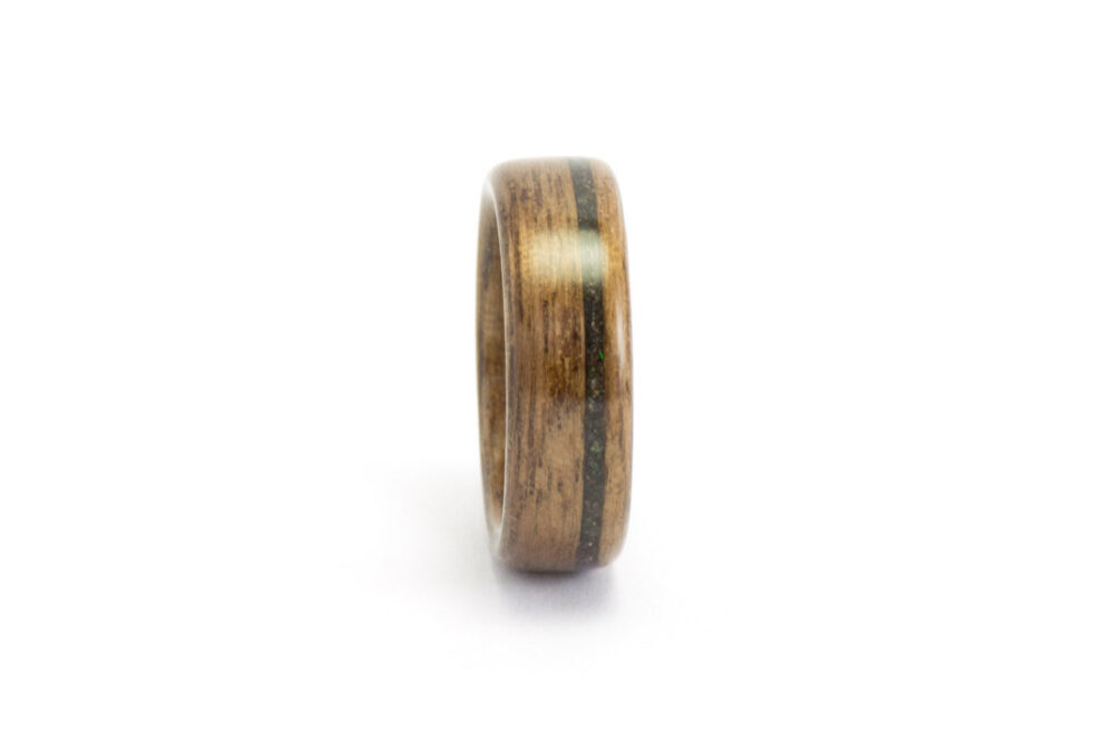 Wood Wedding Band, Ring For Men Or Women, Wooden Ring, Walnut Black Opal Bentwood