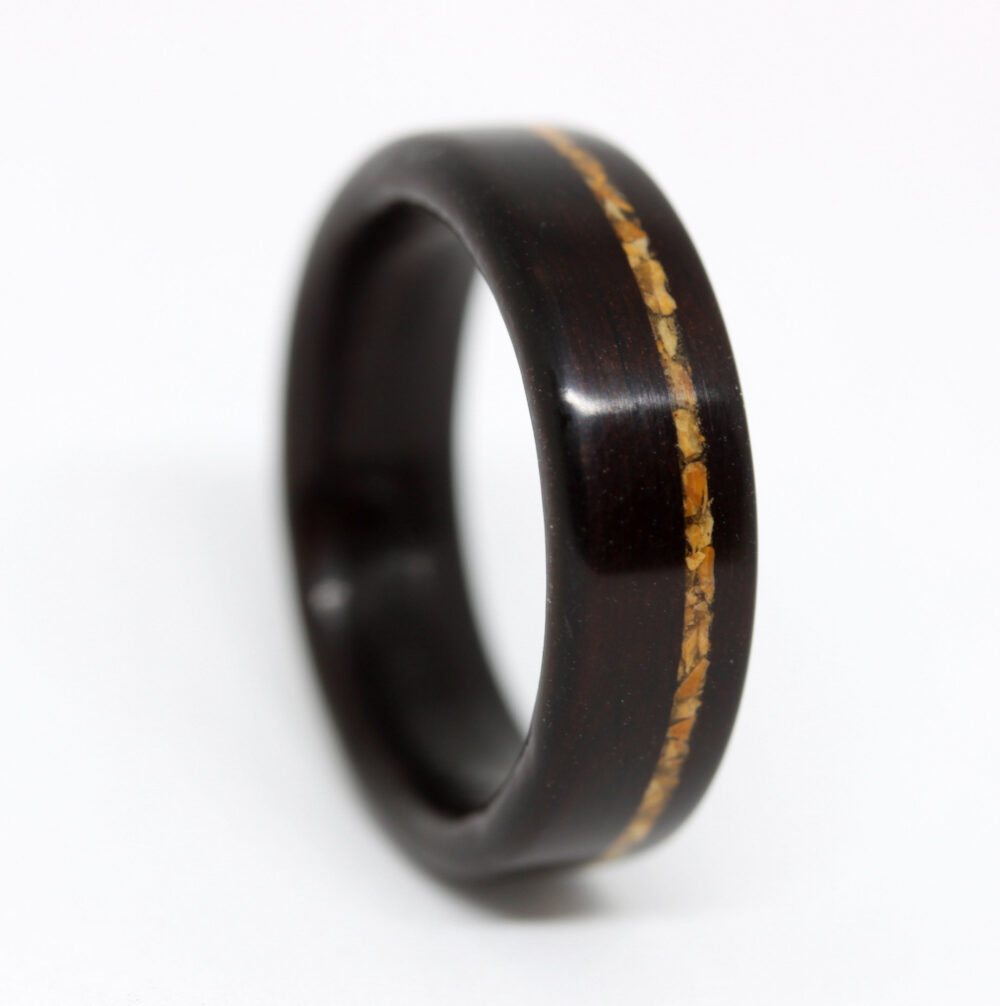 Custom Wooden Wedding Band With Stone Inlay, Wood Ring For Men, Women, Inlaid Ring, Bois De Rose