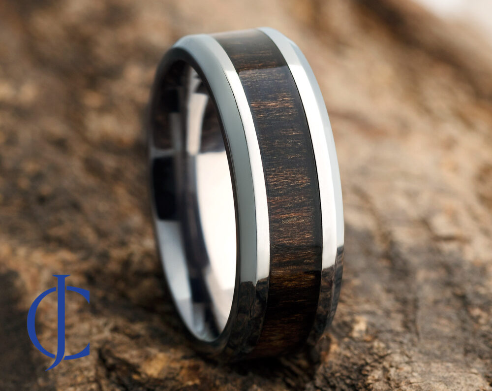 Mens Titanium Wood Wedding Band, Ring, Ring For Men, Women, 8mm Wide, Comfort Fit, Engraving