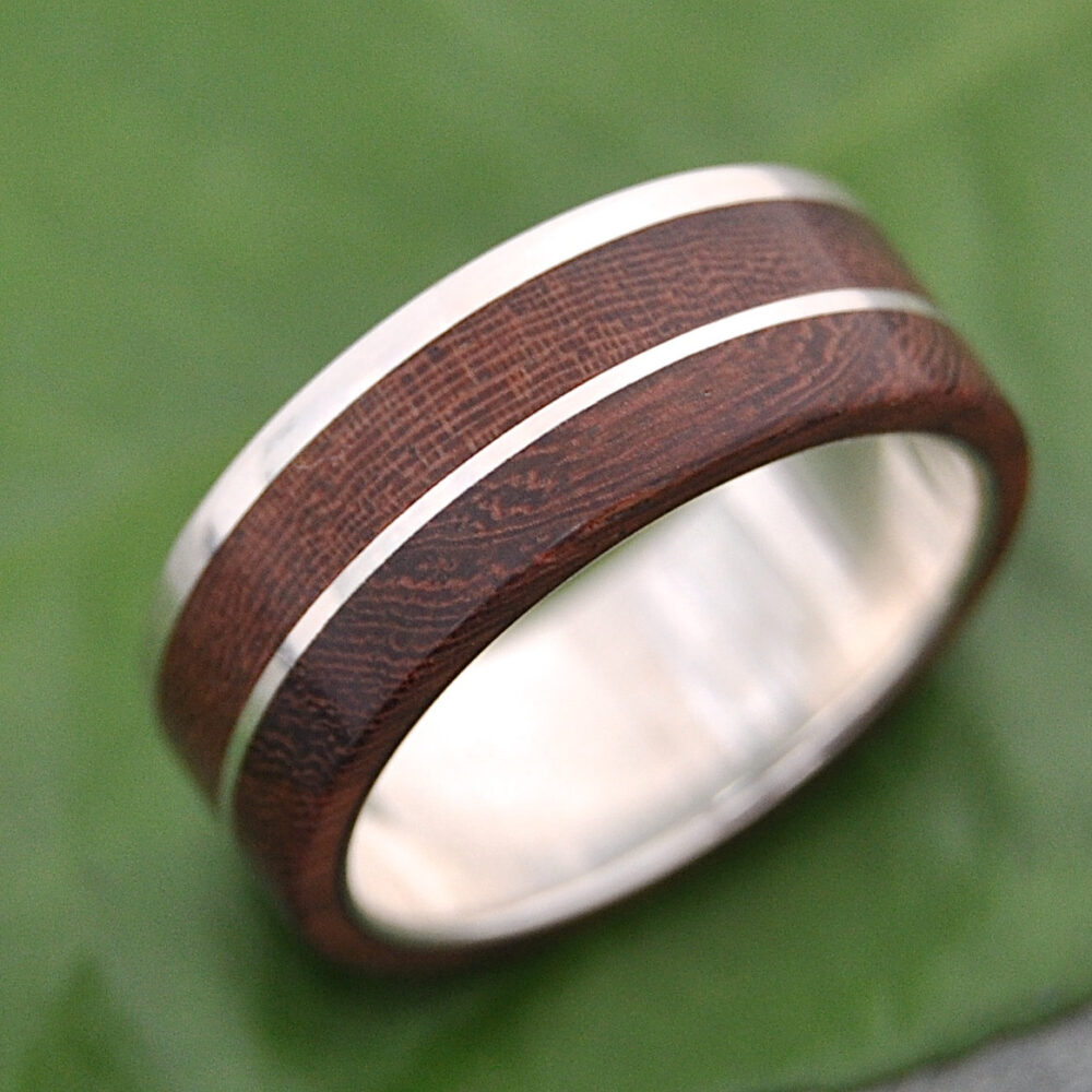 Wood Ring Recycled Sterling Silver Un Lado Asi - Natural Wood Wedding Band, Mens Ring, Women's Wooden Ring