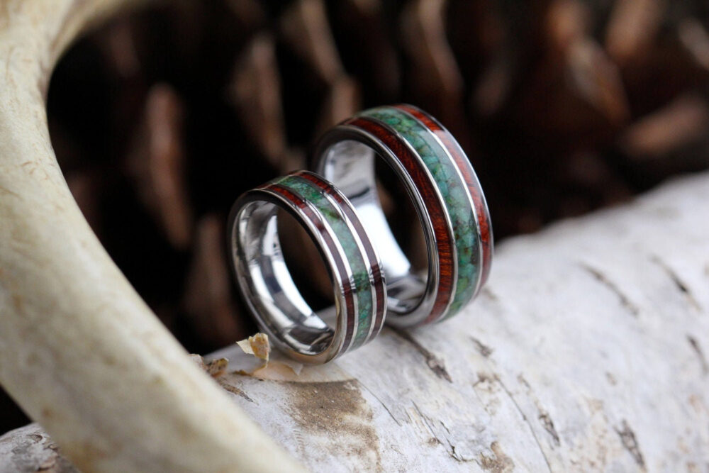 Wood & Chrysocolla Wedding Band Set, Customize With Your Favorite Materials