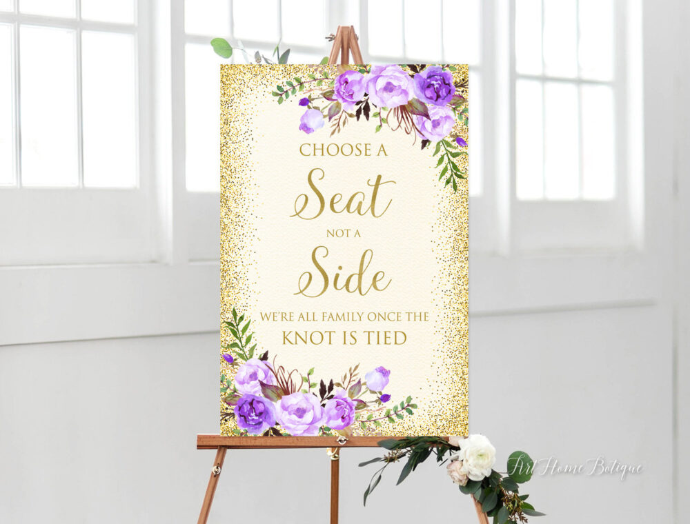 Choose A Seat Not Side Sign, Pick Ceremony Purple Wedding Cream Gold Signs Printable, W814