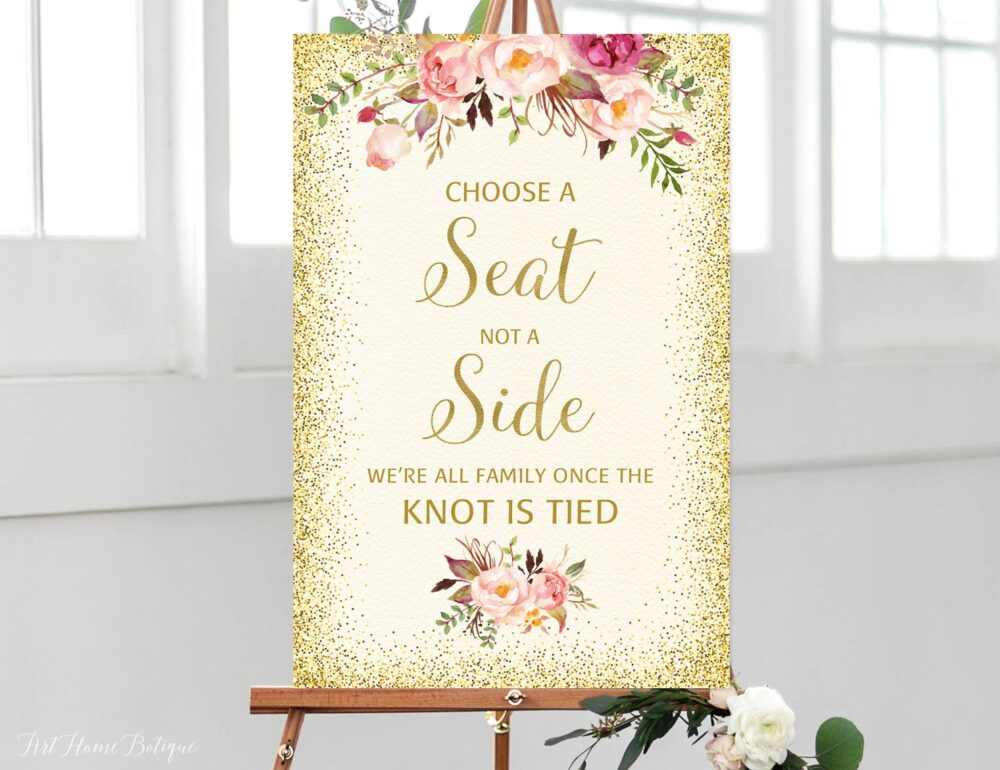 Choose A Seat Not Side Sign, Pick Ceremony Ivory Wedding Cream Gold Signs Printable, W23