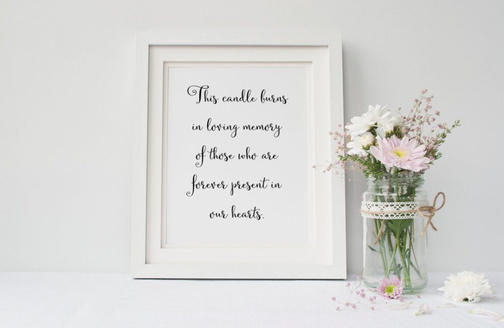 This Candle Print, Wedding Decoration, Sign, Memorial Table Signage, Sign