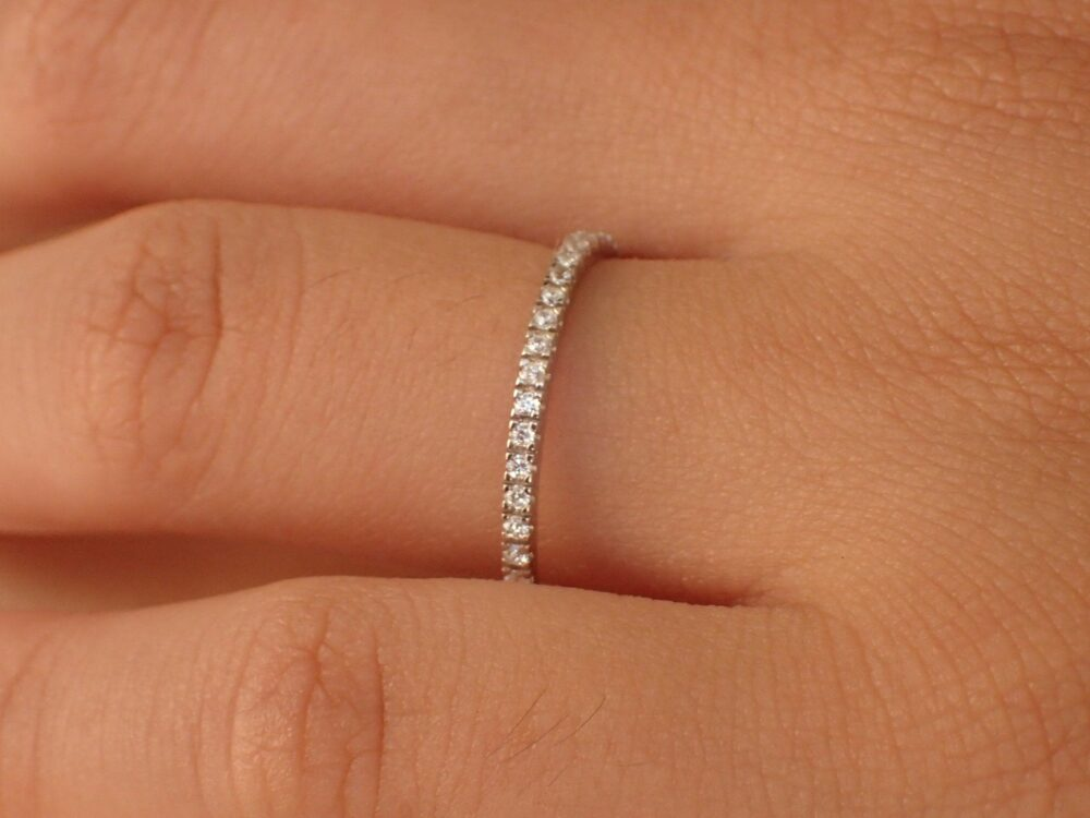 Micro Pave Setting Platinum Band, Half Eternity Ring, Delicate Diamond Wedding Thin Dainty Band 1.5mm/Holiday Gift