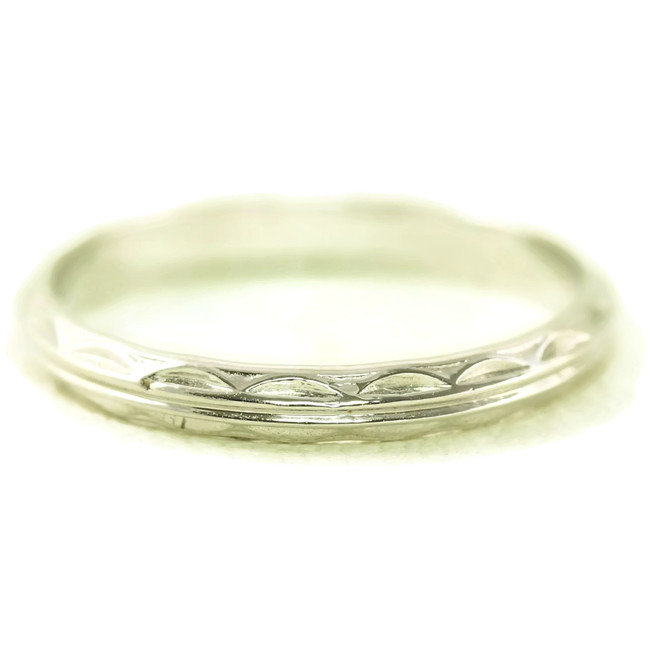 Platinum Antique Art Deco Double Line Styled Wedding Band/Ring