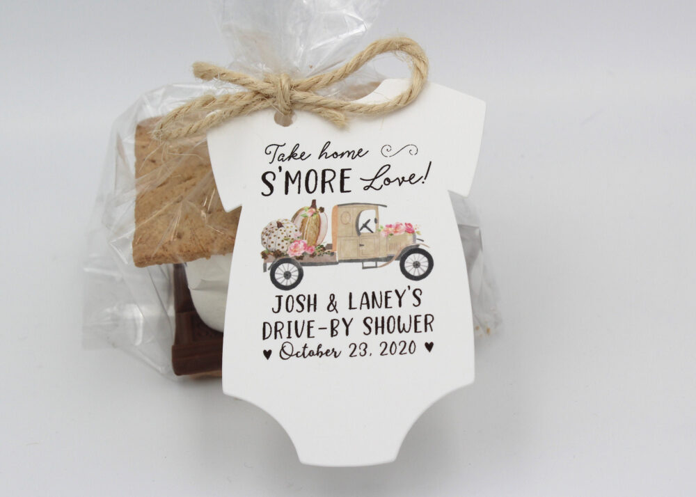 Girl Pumpkin Drive By Baby Shower Favor Tag | Take Home S'more Love - Tags Only Or Diy Kit Shower Favors Smore