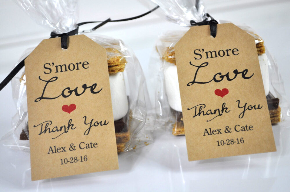 Wedding Favors, Smore Love Favor Tags, Rustic Thank You Bridal Shower Personalized Favors - Set Of 12