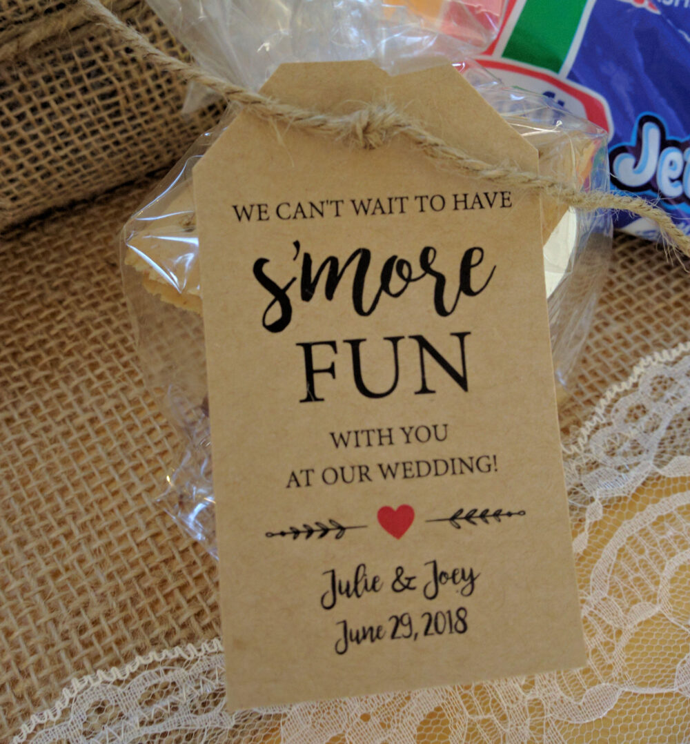 Engagement Party Favors, S'more Fun Kit, Smores Favor Tags, Can't Wait To Have Smore Fun Kits Bags, Tags Twine No Food