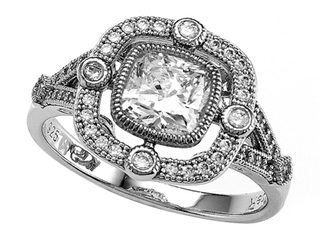 Zoe R™ 925 Sterling Silver Micro Pave Hand Set Cushion Cut Cubic Zirconia (CZ) Engagement Ring