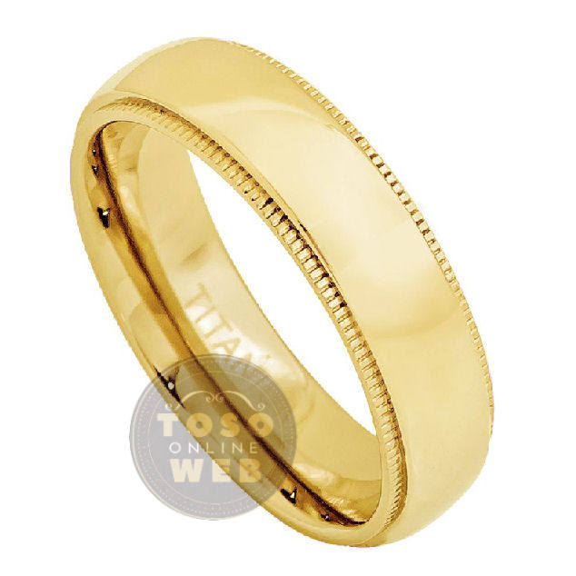 Unisex 5mm Milgrain Edge High Polished Dome Yellow Gold Ion Plated Titanium Wedding Band Ring, Comfort Fit Anniversary Ti4762
