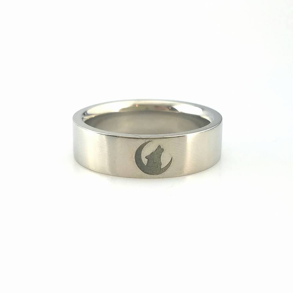 Titanium Wedding Ring Half Moon Howling Wolf Twilight Band Custom Size & Width Laser Engraving Anniversary