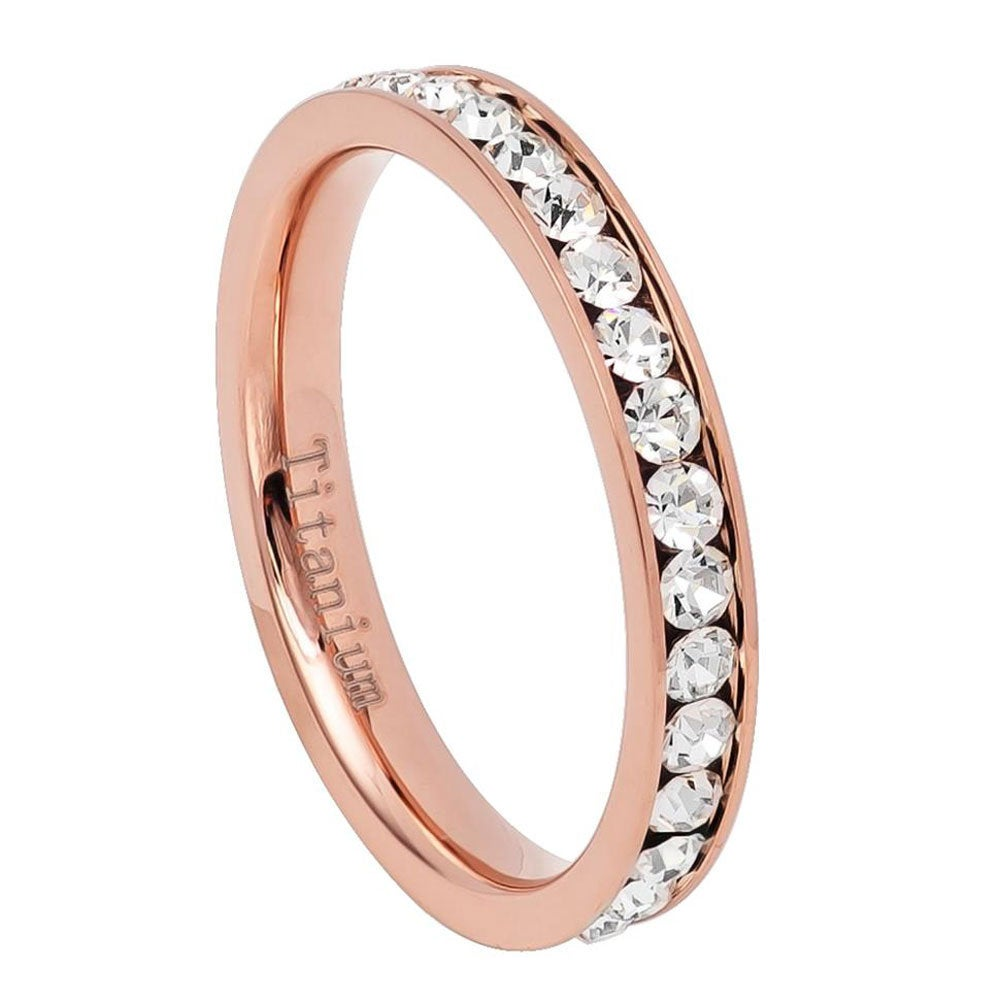 Personalized Custom Engraving, 3mm Titanium Band, Rose Gold Ip Plated Eternity Ring, Cubic Zirconia Czs(Jdti688