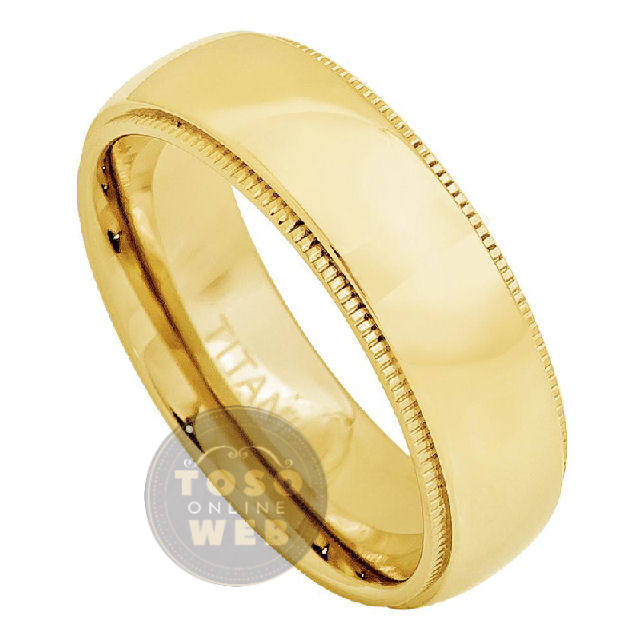 Unisex 7mm Milgrain Edge High Polished Dome Yellow Gold Ion Plated Titanium Wedding Band Ring, Comfort Fit Anniversary Ti4782