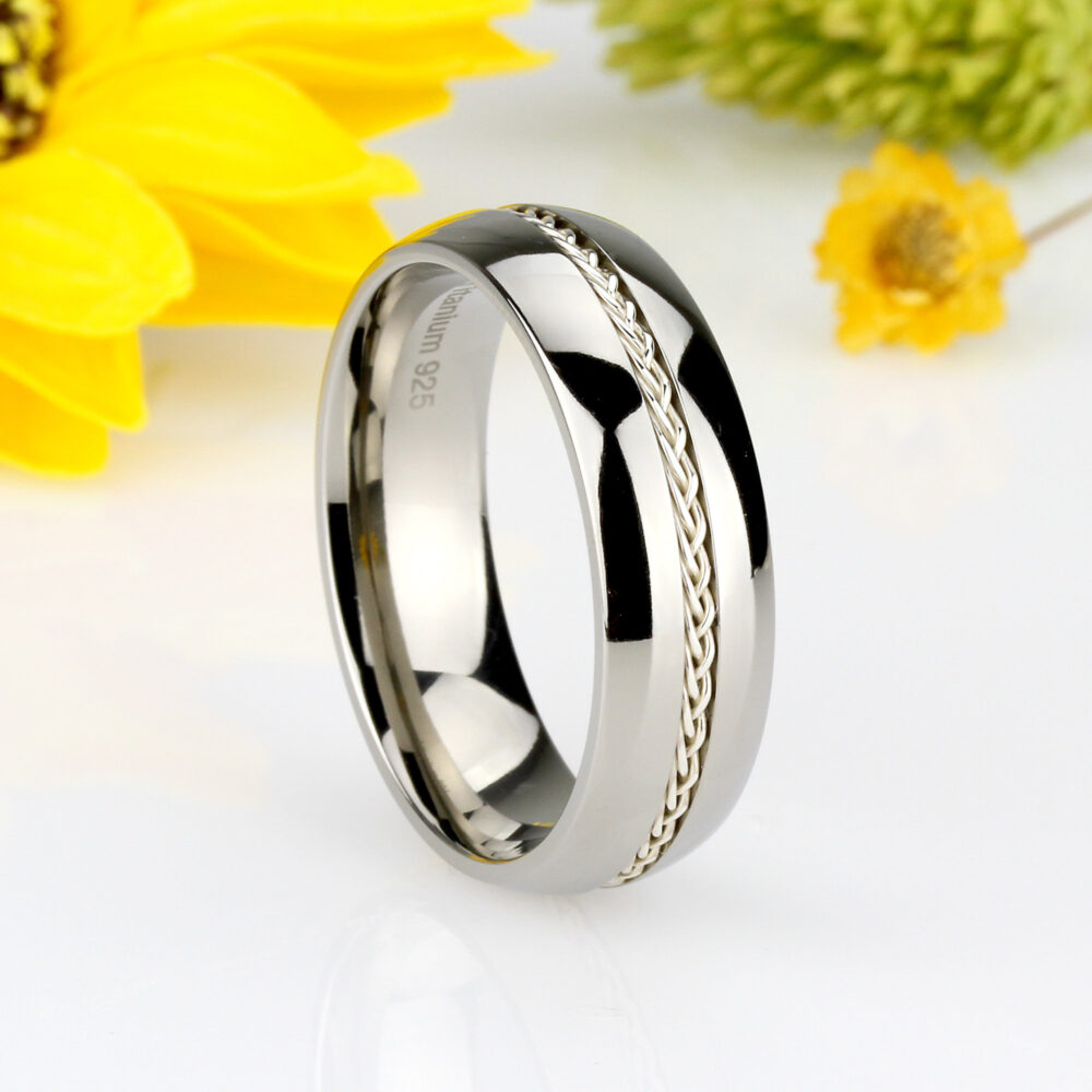 Custom Engraving 8mm Titanium Band Ring Grooved With Braided Sterling Silver Inlay(Jdti266