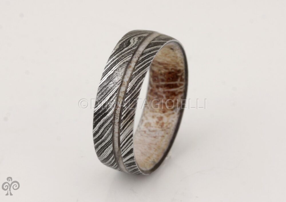 Antler Ring Damascus Steel Ring Antler Wedding Band Mens Man Woman
